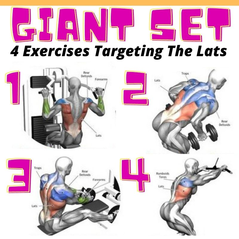 Giant set examples - the latissimus dorsi exercises